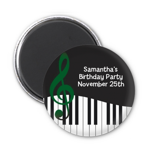 Musical Notes Black and White - Personalized Birthday Party Magnet Favors Option 1