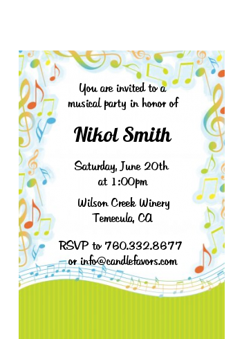 Musical Notes Colorful Invite Petite