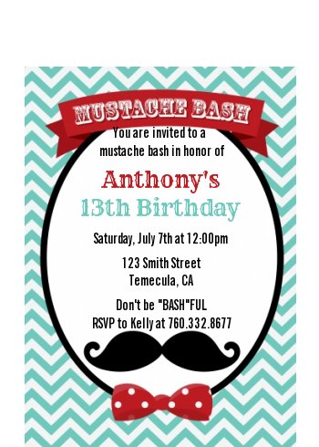 Mustache Bash - Birthday Party Petite Invitations