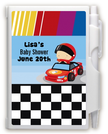 Nascar Inspired Racing - Baby Shower Personalized Notebook Favor