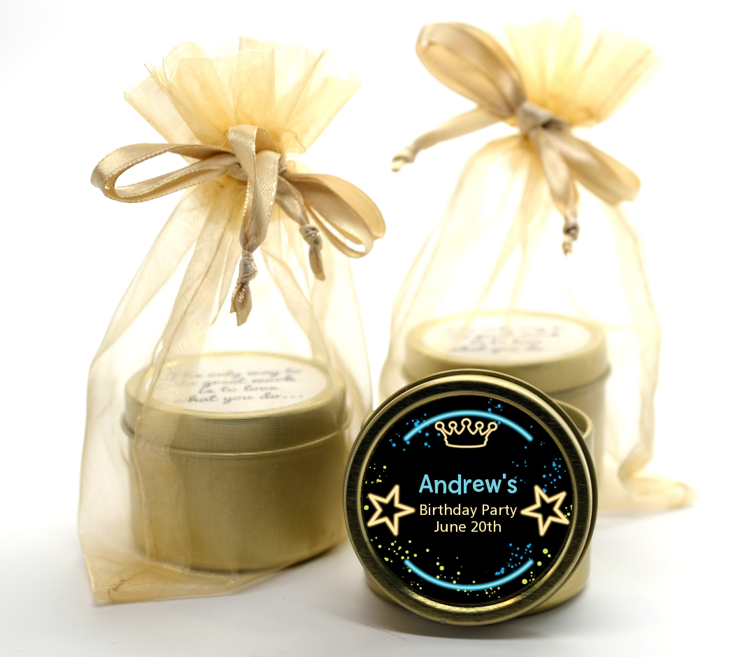 Neon Blue Glow In The Dark - Birthday Party Gold Tin Candle Favors Option 1