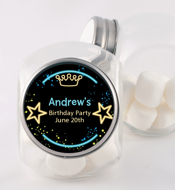 Neon Blue Glow In The Dark - Personalized Birthday Party Candy Jar Option 1