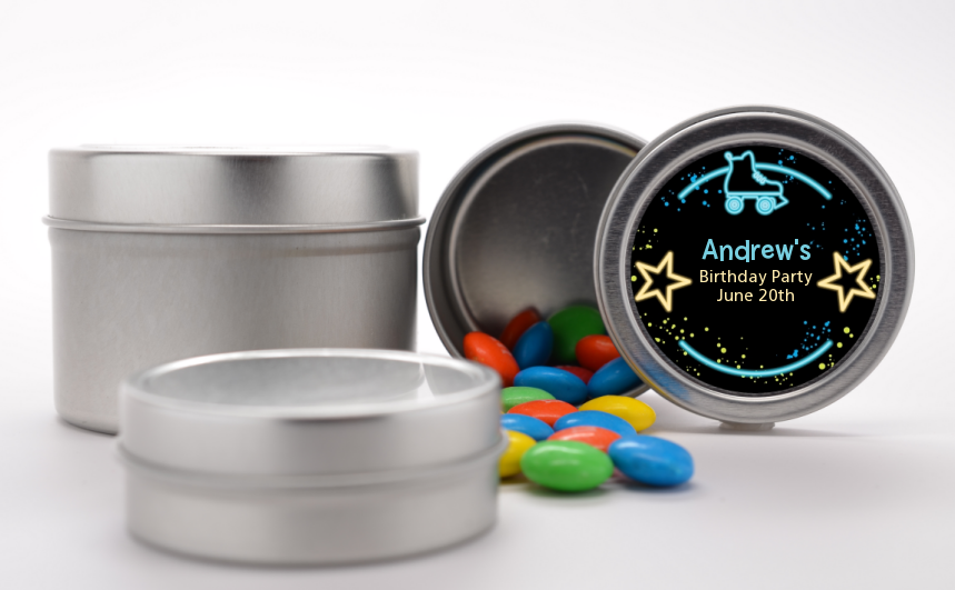 Neon Blue Glow In The Dark - Custom Birthday Party Favor Tins Option 1
