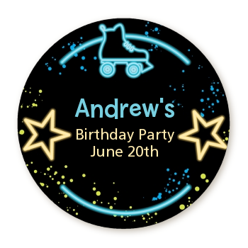 Neon Blue Glow In The Dark - Round Personalized Birthday Party Sticker Labels Option 1