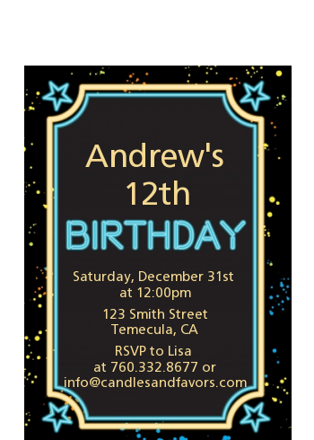 Neon Blue Glow In The Dark - Birthday Party Petite Invitations