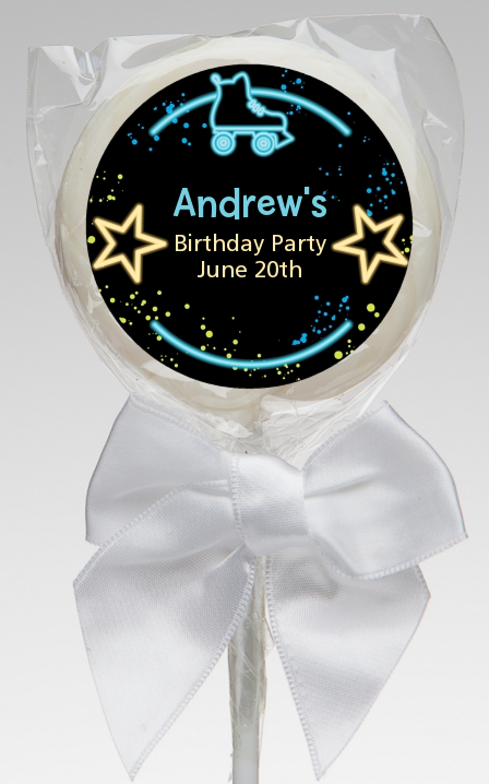 Neon Blue Glow In The Dark - Personalized Birthday Party Lollipop Favors Option 1