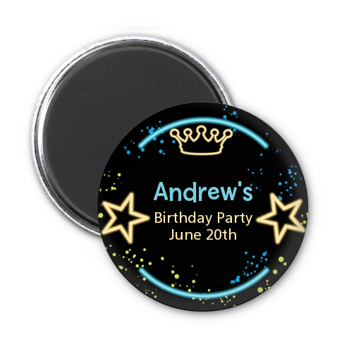Neon Blue Glow In The Dark - Personalized Birthday Party Magnet Favors Option 1