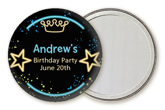 Neon Blue Glow In The Dark - Personalized Birthday Party Pocket Mirror Favors Option 1