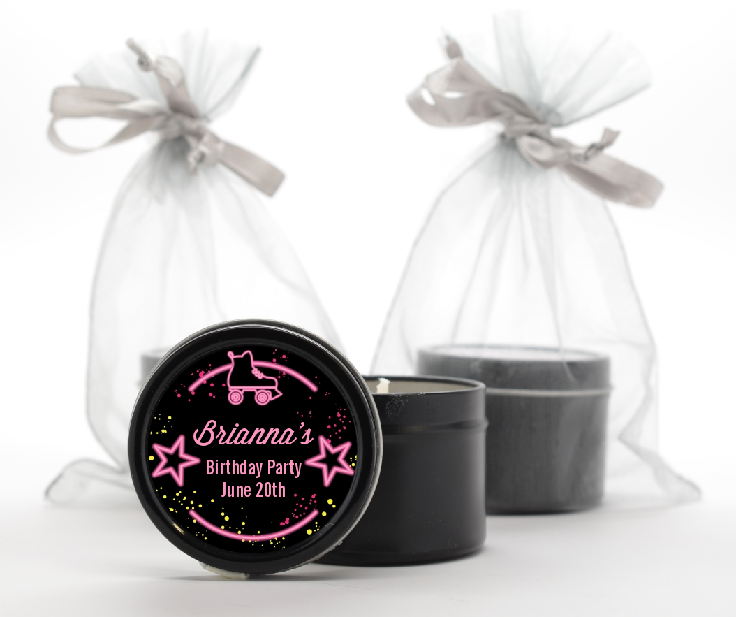 Neon Pink Glow In The Dark - Birthday Party Black Candle Tin Favors Option 1
