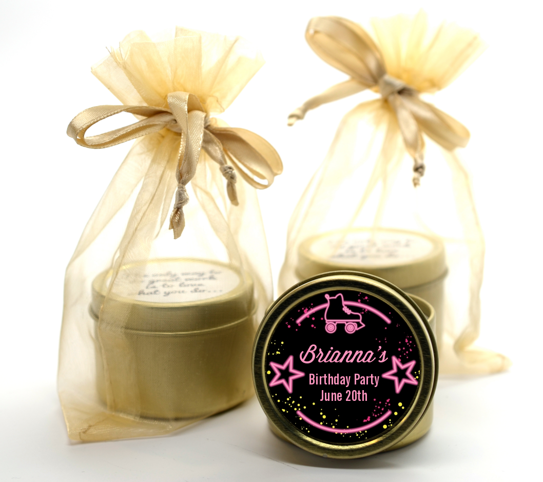 Neon Pink Glow In The Dark - Birthday Party Gold Tin Candle Favors Option 1