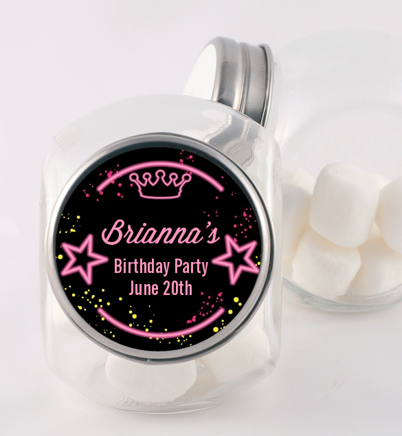 Neon Pink Glow In The Dark - Personalized Birthday Party Candy Jar Option 1