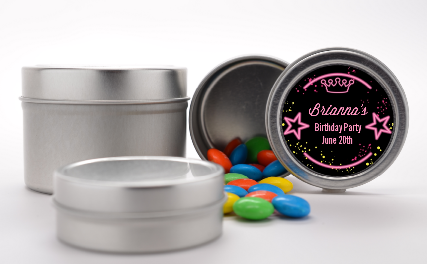 Neon Pink Glow In The Dark - Custom Birthday Party Favor Tins Option 1
