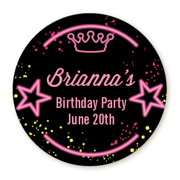 Neon Pink Glow In The Dark - Round Personalized Birthday Party Sticker Labels Option 1
