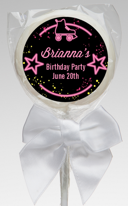 Neon Pink Glow In The Dark - Personalized Birthday Party Lollipop Favors Option 1