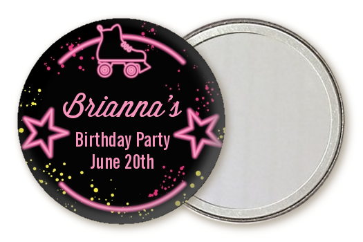 Neon Pink Glow In The Dark - Personalized Birthday Party Pocket Mirror Favors Option 1