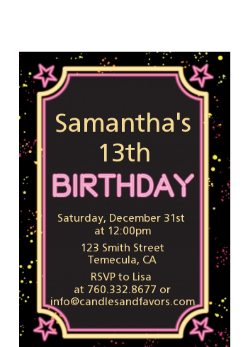 Neon Pink Glow In The Dark - Birthday Party Petite Invitations