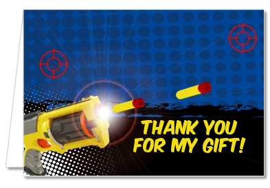 Nerf Gun - Birthday Party Thank You Cards