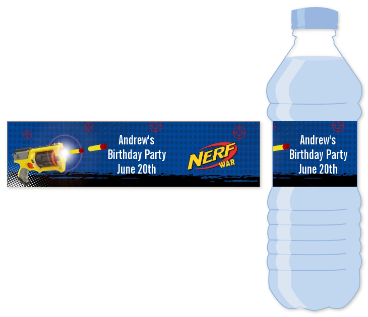 Nerf Gun Water Bottle Label Birthday Party Water Bottle Stickers