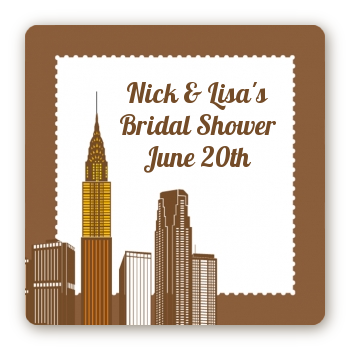 New York City Skyline - Square Personalized Bridal Shower Sticker Labels