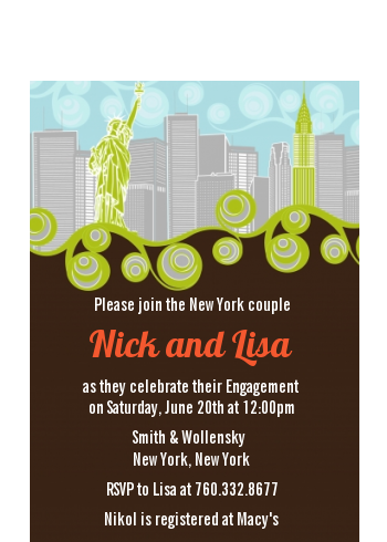 New York Skyline - Bridal Shower Petite Invitations Green