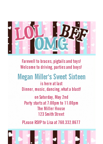 OMG LOL BFF Sweet 16 - Birthday Party Petite Invitations