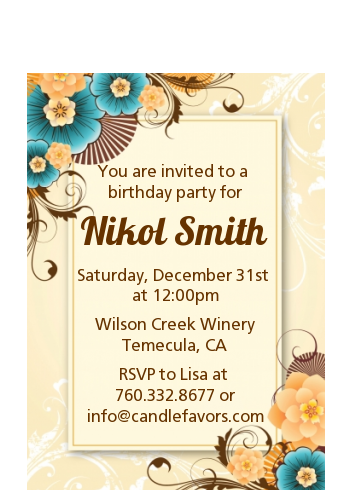 Orange & Blue Floral - Birthday Party Petite Invitations