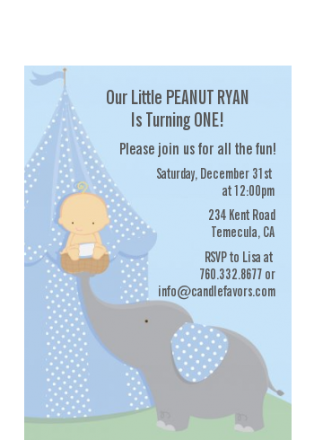 Our Little Boy Peanut's First - Birthday Party Petite Invitations
