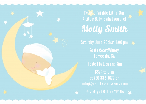 Over The Moon Boy Baby Shower Invitations Candles and Favors