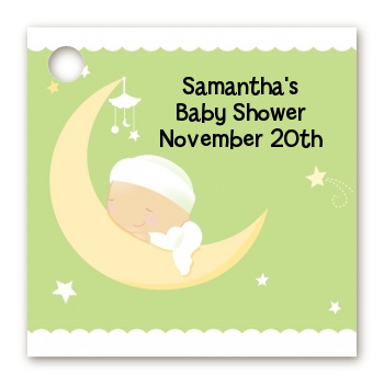 Over The Moon - Personalized Baby Shower Card Stock Favor Tags