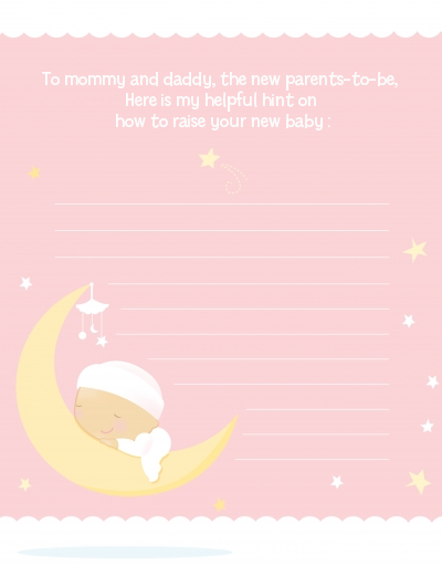 Over The Moon Girl - Baby Shower Notes of Advice