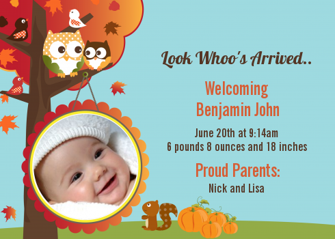 Owl Fall Theme or Halloween Photo Birth Announcement Cards – Birth Announcement Card