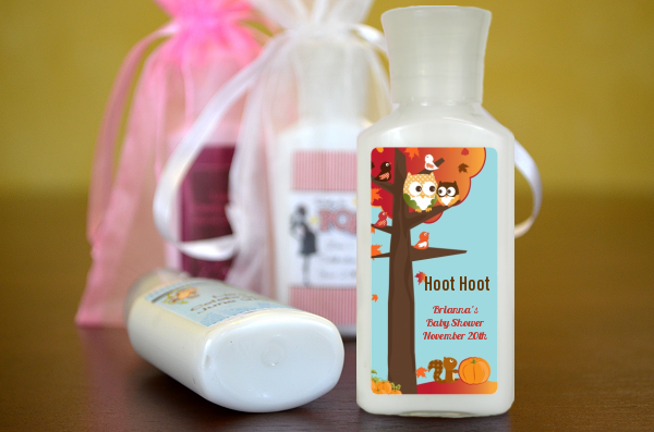 Baby Shower Favors Lotion ~ Fall theme or halloween personalized baby shower lotion favors