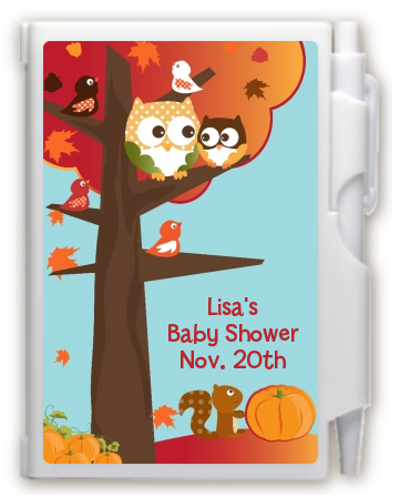 Owl - Fall Theme or Halloween - Baby Shower Personalized Notebook Favor