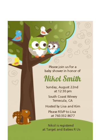 Owl - Look Whooo's Having A Baby - Baby Shower Petite Invitations