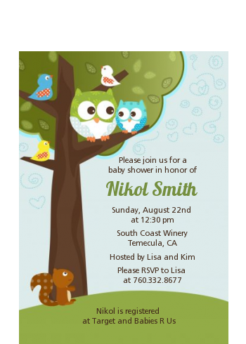 Owl - Look Whooo's Having A Boy - Baby Shower Petite Invitations