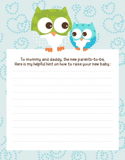 Owl - Look Whooo's Having A Boy - Baby Shower Notes of Advice