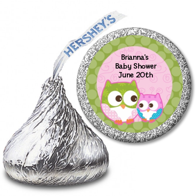 Owl - Look Whooo's Having A Girl - Hershey Kiss Baby Shower Sticker Labels