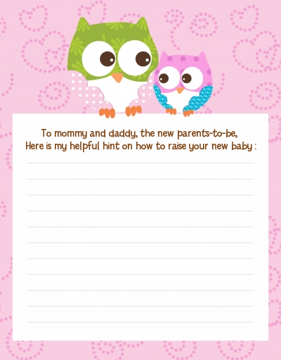Owl - Look Whooo's Having A Girl - Baby Shower Notes of Advice