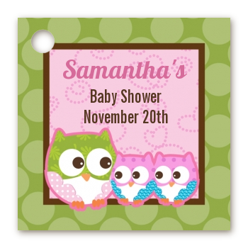 Owl - Look Whooo's Having Twin Girls - Personalized Baby Shower Card Stock Favor Tags