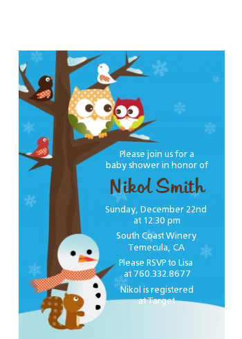 Owl - Winter Theme or Christmas - Baby Shower Petite Invitations