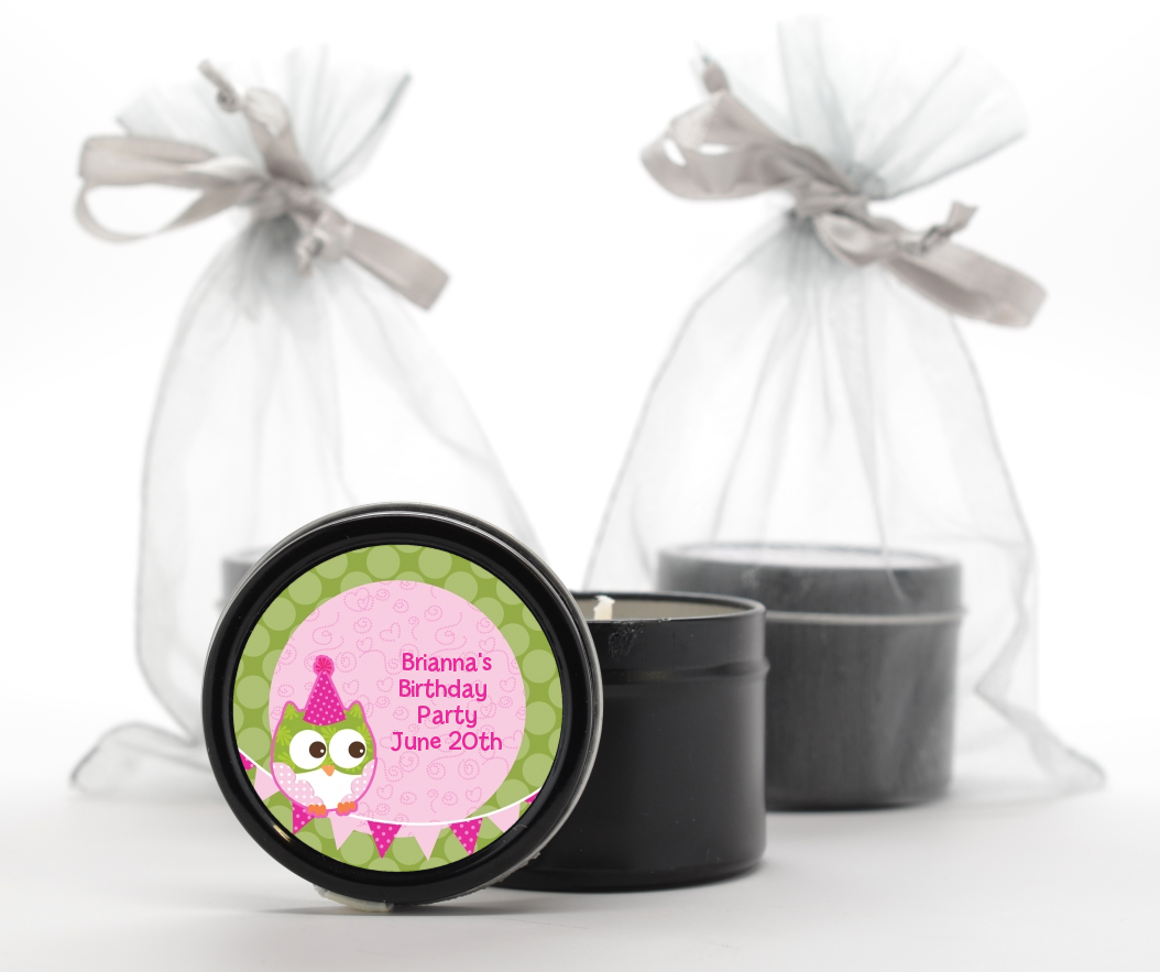 Custom Birthday Party Black Candle Tin Favors