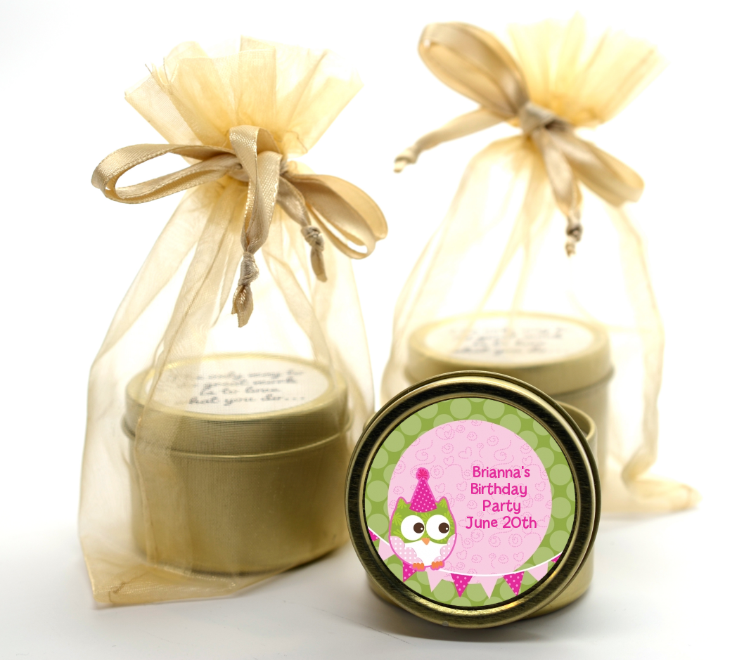 Owl Birthday Girl Gold Tin Candle Favors | Candles & Favors
