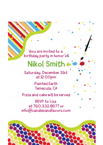 Paint Party - Birthday Party Petite Invitations