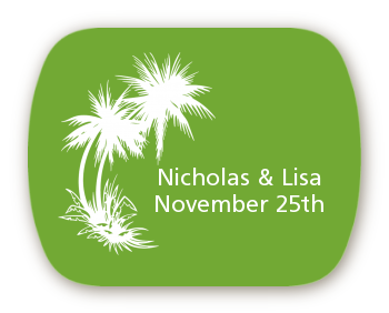 Palm Trees - Personalized Bridal Shower Rounded Corner Stickers