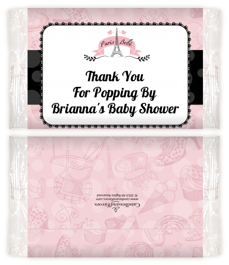 Paris Bebe Baby Shower Popcorn Wrappers Baby Shower Popcorn Wrappers