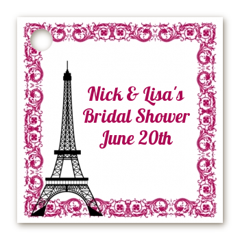 paris personalized bridal shower card stock favor tags