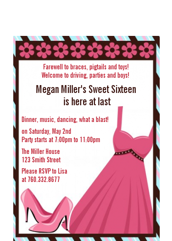 Party Dress | Sweet 16 - Birthday Party Petite Invitations