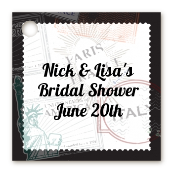 Passport - Personalized Bridal Shower Card Stock Favor Tags