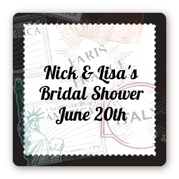Passport - Square Personalized Bridal Shower Sticker Labels