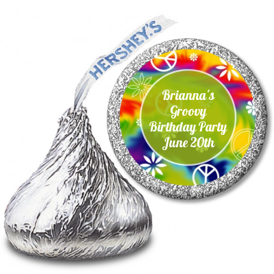 Peace Tie Dye - Hershey Kiss Birthday Party Sticker Labels